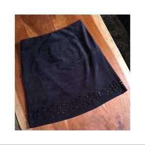 Xhiliration faux suede skirt with aztec detail